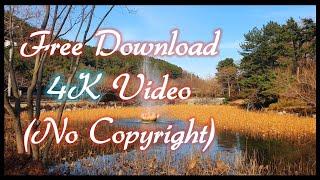 [무료영상,4K] 연꽃 분수대 와 물레방아, 연못 무지…