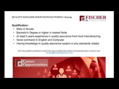 Fischer & Partners Recruitment Agency - Bangkok Thailand - Quality Manager