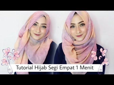 2 Tutorial Hijab Segi Empat Pesta dlam 1 MENIT ❤