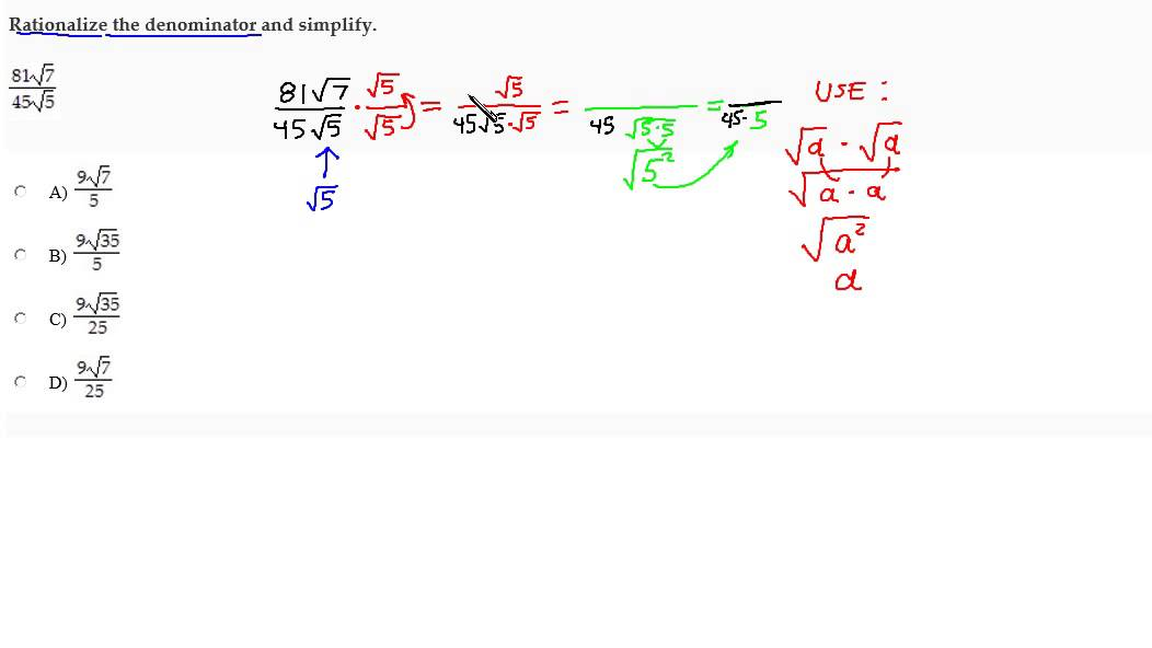 Rationalize The Denominator And Simplify