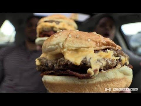 Eating Five Guys Double Bacon Cheeseburger @hodgetwins