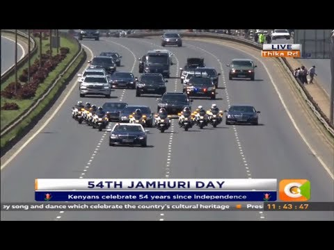President Kenyatta's convoy enroute to Kasarani for the 54th Jamhuri celebrations
