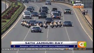 President Kenyatta's convoy enroute to Kasarani for the 54th Jamhuri celebrations