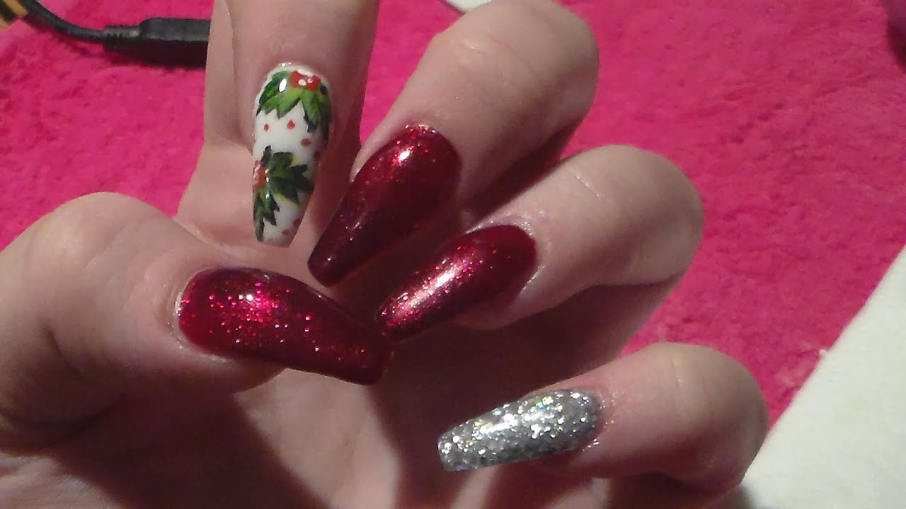Christmas Acrylic Nails At Home, How to acrylic nails - YouTube