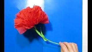 Как Сделать Цветы Красная Гвоздика из гофробумаги Поделки с детьми 1-9 Мая/Easy Paper Flowers