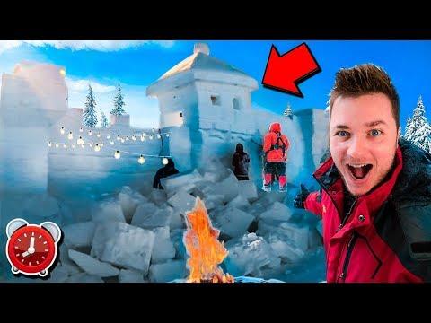 BILLIONAIRE SNOW FORT IGLOO! 24 Hour Challenge  Secret Tunnels & Underground ⛄