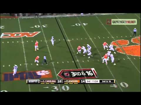 Dylan Thompson to Ace Sanders Touchdown - South Carolina vs. Clemson 2012