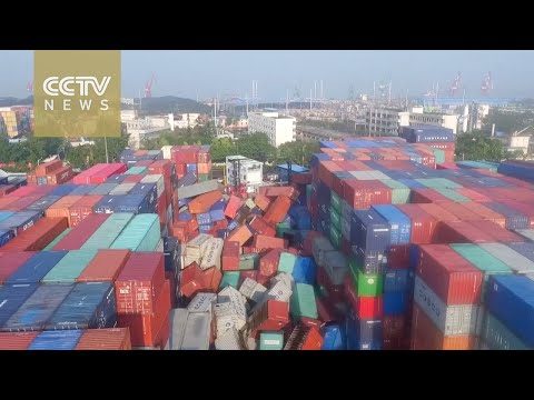Shipping containers scattered by typhoon in China