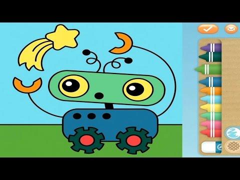 Раскраски для детей - Раскрашиваем робота и космическую ракету. Видео для малышей