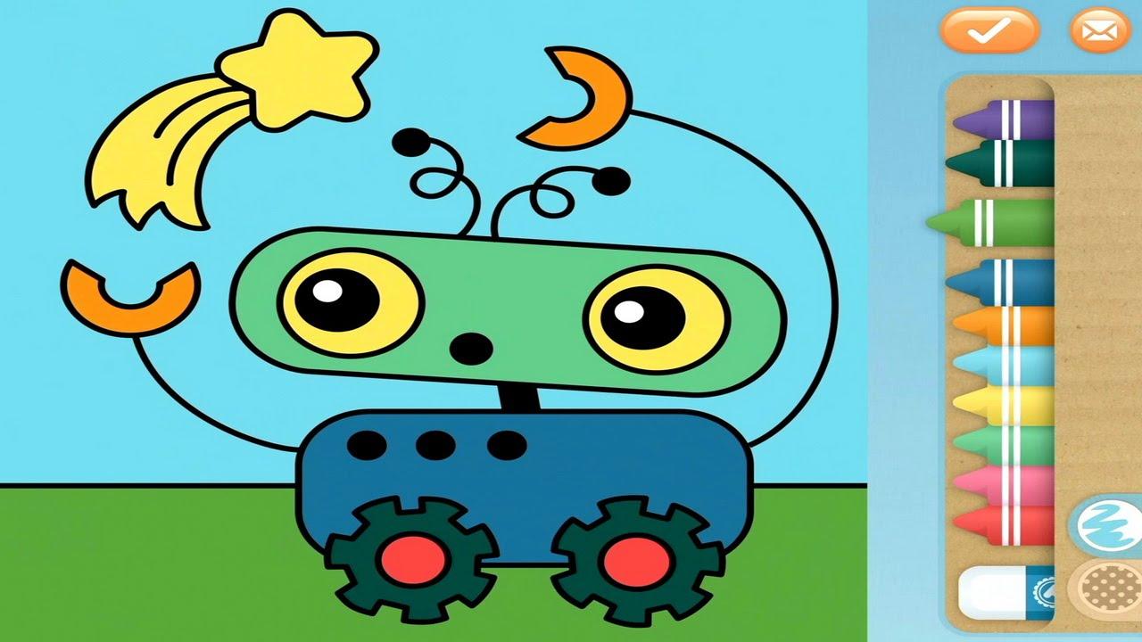 Раскраски для детей - Раскрашиваем робота и космическую ...
