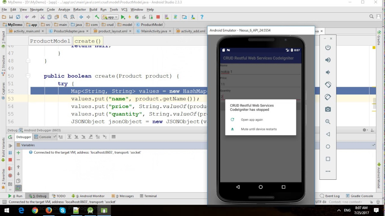 Android CRUD with CodeIgniter Restful Web Services and MySQL - Part 2