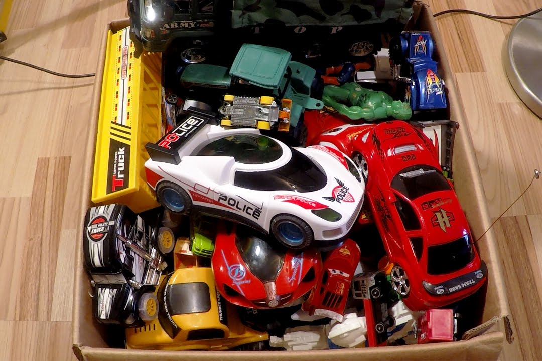 Box Full Of Toys: Action Figures, Funny Animals, Vehicles