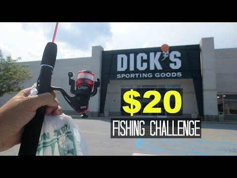 $20 Dicks Sporting Goods Fishing Challenge!! (Surprising!)