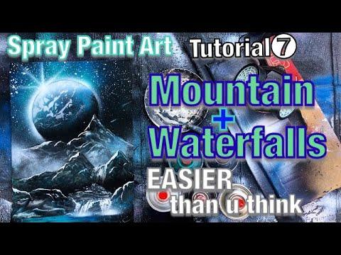 [howto]spray paint EASY MOUNTAIN&WATERFALLS/learn spray ...