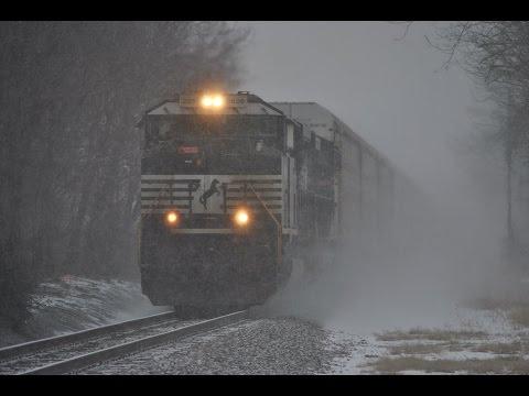 HD: 3/4/15 Norfolk Southern Trains Dashing Through The Snow