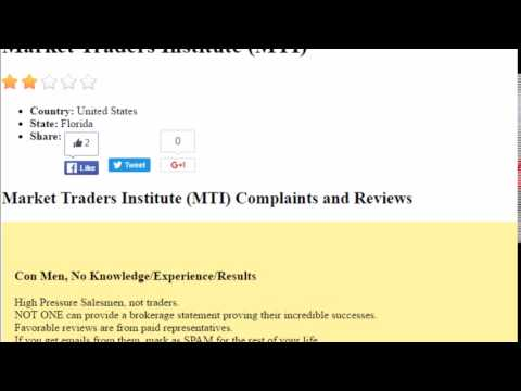 Market Traders Institute Complaint – Dont Trust this Company!