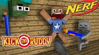 Monster School : KICK THE BUDDY vs NERF WAR GAME CHALLENGE - Minecraft Animation