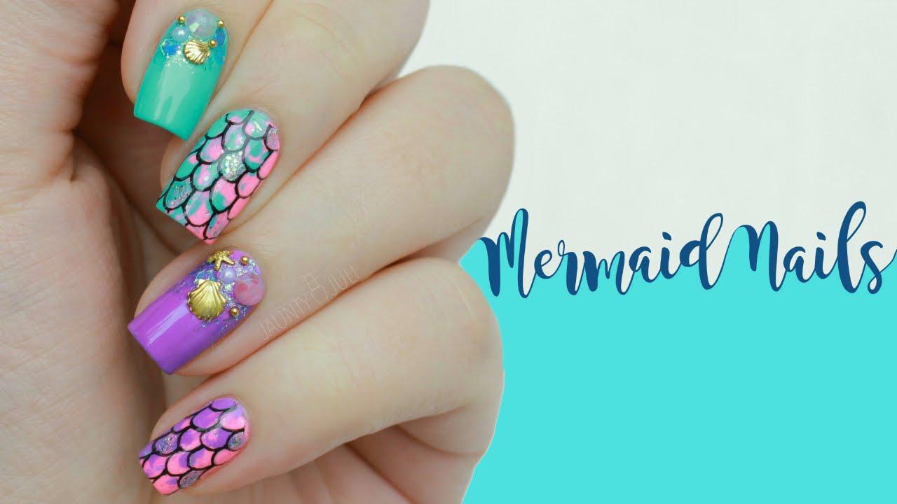 Neon Acid Mermaid Nails - YouTube