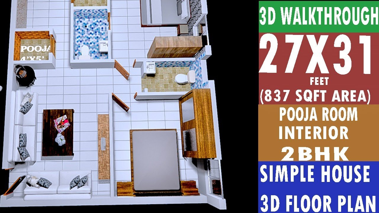 27x31 House Plan 3d Floor Plan Walkthrough Interior Design Youtube