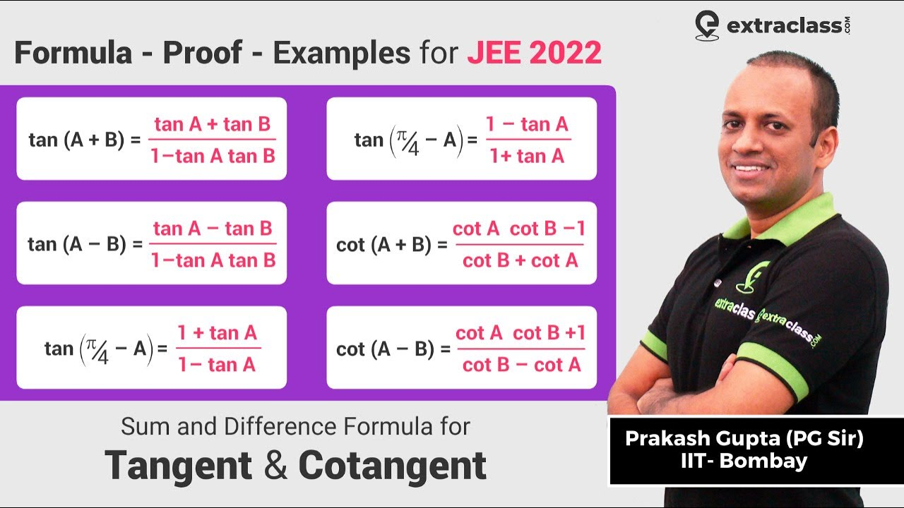 Tan(A+B) and Cot(A+B) Proof/Formula/Examples | Trigonometry Sum and Difference Angles | Extraclass