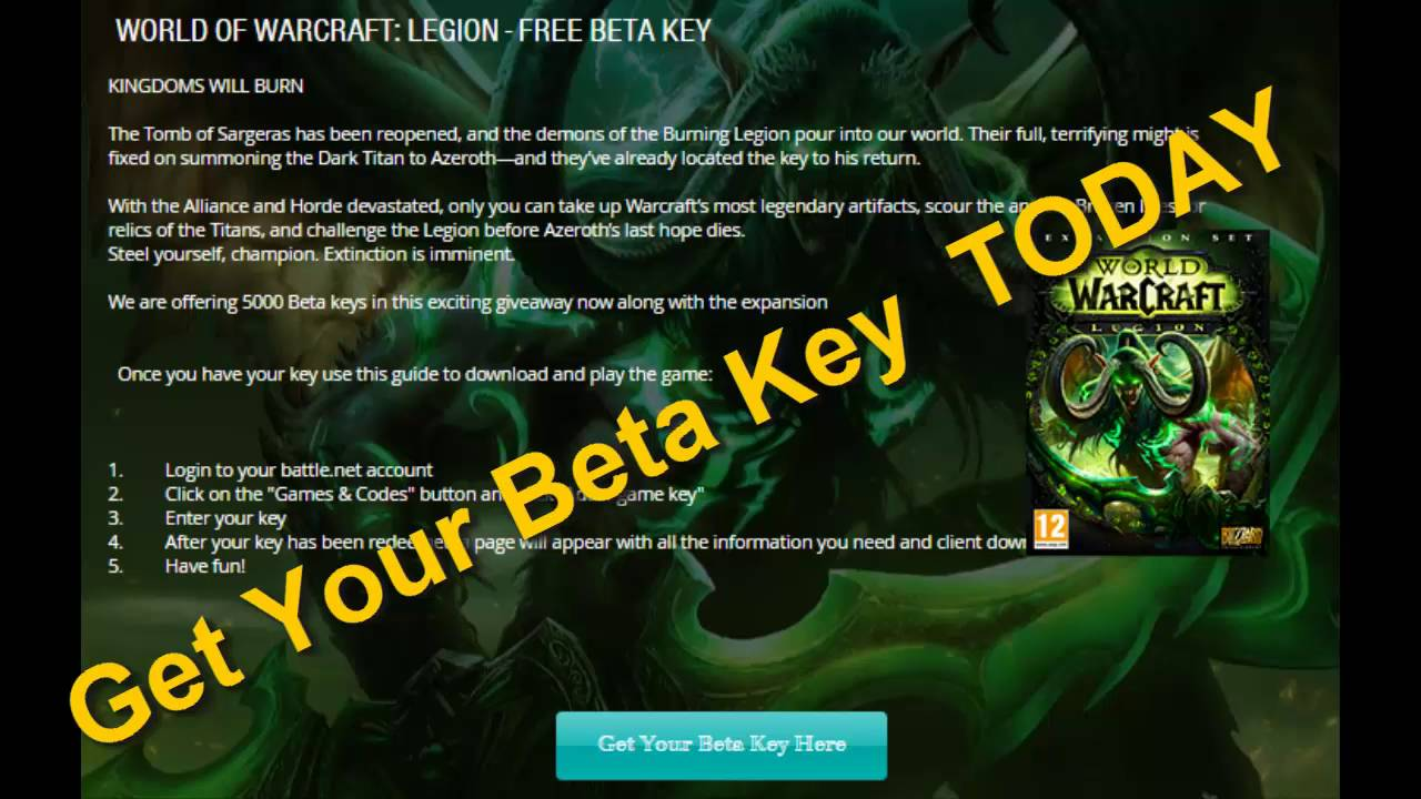 Wow Legion Key