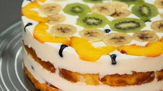ТОРТ ФРУКТОВЫЙ РАЙ Гости всегда просят рецепт понимая что торт несложный но вкусный