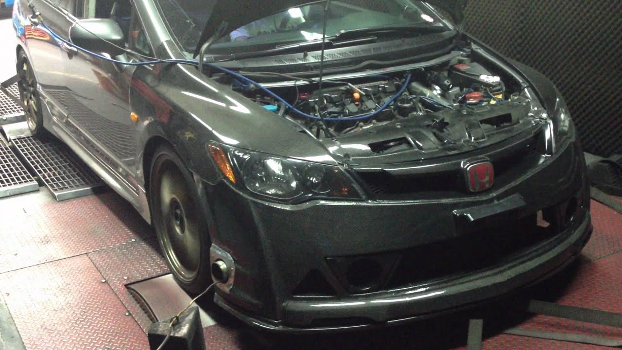 Honda Civic FD 1.8 m/t Turbo DYNO VIDEO 244WHP @ 7psi - YouTube
