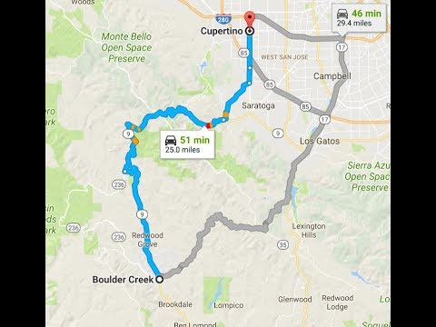 Drive from Boulder Creek to Cupertino (CA Highway 9)