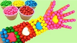 Learn Colors Video Gumballs Children Learning Finger Family Song Nursery Rhymes Body Arm Hand Paint