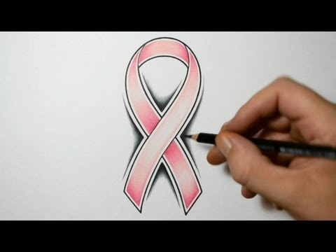 How to Draw a Cancer Ribbon - Tattoo Design Style