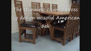 Country Oak Cross Leg Oak Dining Table Furniture In Top Furniture Showroom