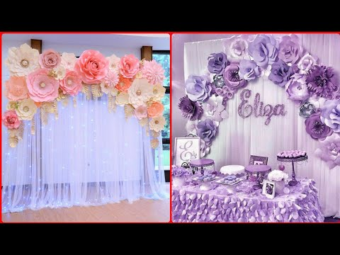 Beautiful Paper Flower Backdrop Decoration Ideas For Birthday,parties,Baby Shower Wedding