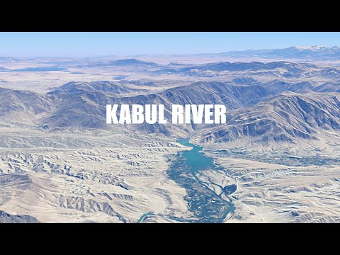 Kabul River full length aerial view in 3D Kabul River Afghanistan and Pakistan.