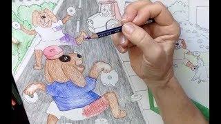 Mektup Dd/Köpek, Ördek Çizim sanat: Renkli Kalemler:-1 Parça Çörek
