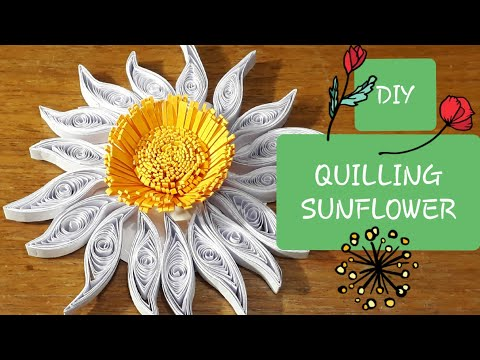 DIY | How to make | Quilling Sunflower | Paper Sunflower | Simple and easy method | PaperCrafts
