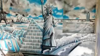 Décoration graffiti d'un salon avec les monuments des 5 continents