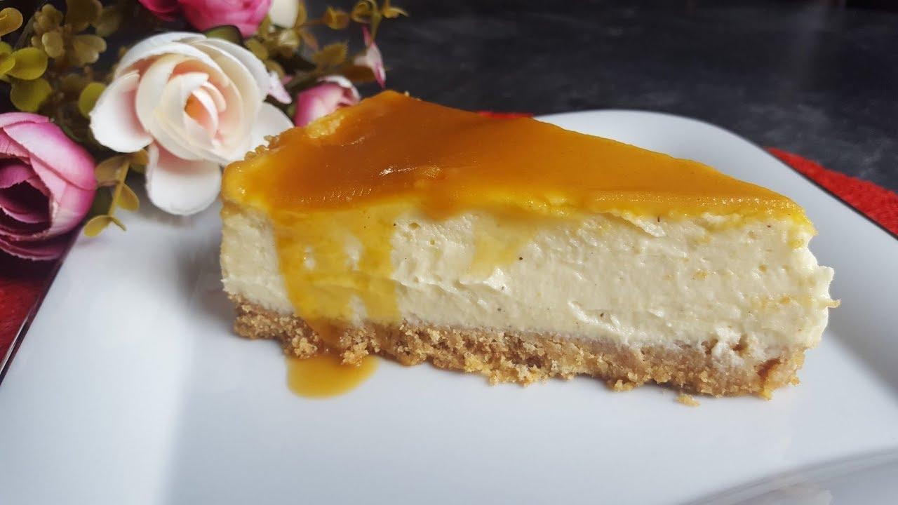 Cheesecake mit Karamellsoße / Schmand-Karamell-Kuchen ♥ P&S Backparadies