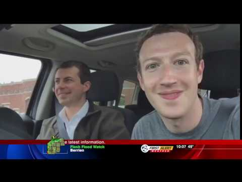 In surprise visit, Facebook founder Mark Zuckerberg tours South Bend with Mayor Pete