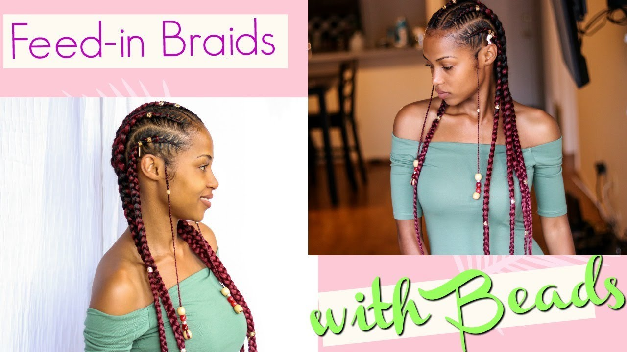 Straight Back With Beads: Feed In Braids With Beads
