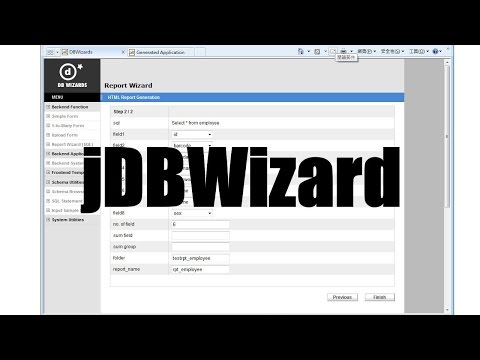 jDBWizards - The world's easiest to use Java Database Web Application Framework