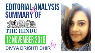 Todays 12 November 2018 The Hindu newspaper Analysis & Editorial Discussion