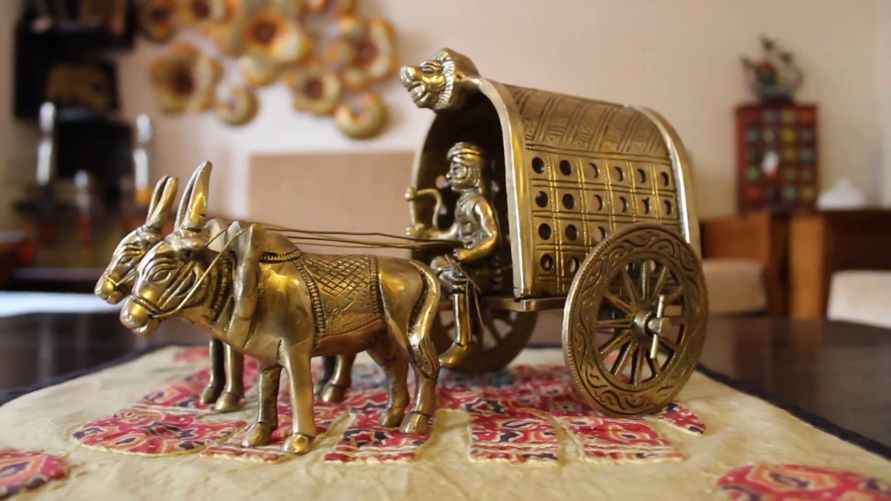 Pure Brass Bullock Cart Rightwood Best Gift Handicrafts Online