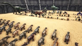 [100K Subscribers Special Video!] 100 Chalicotheriums vs All Dinosaurs in ARK [TURRET MODE]