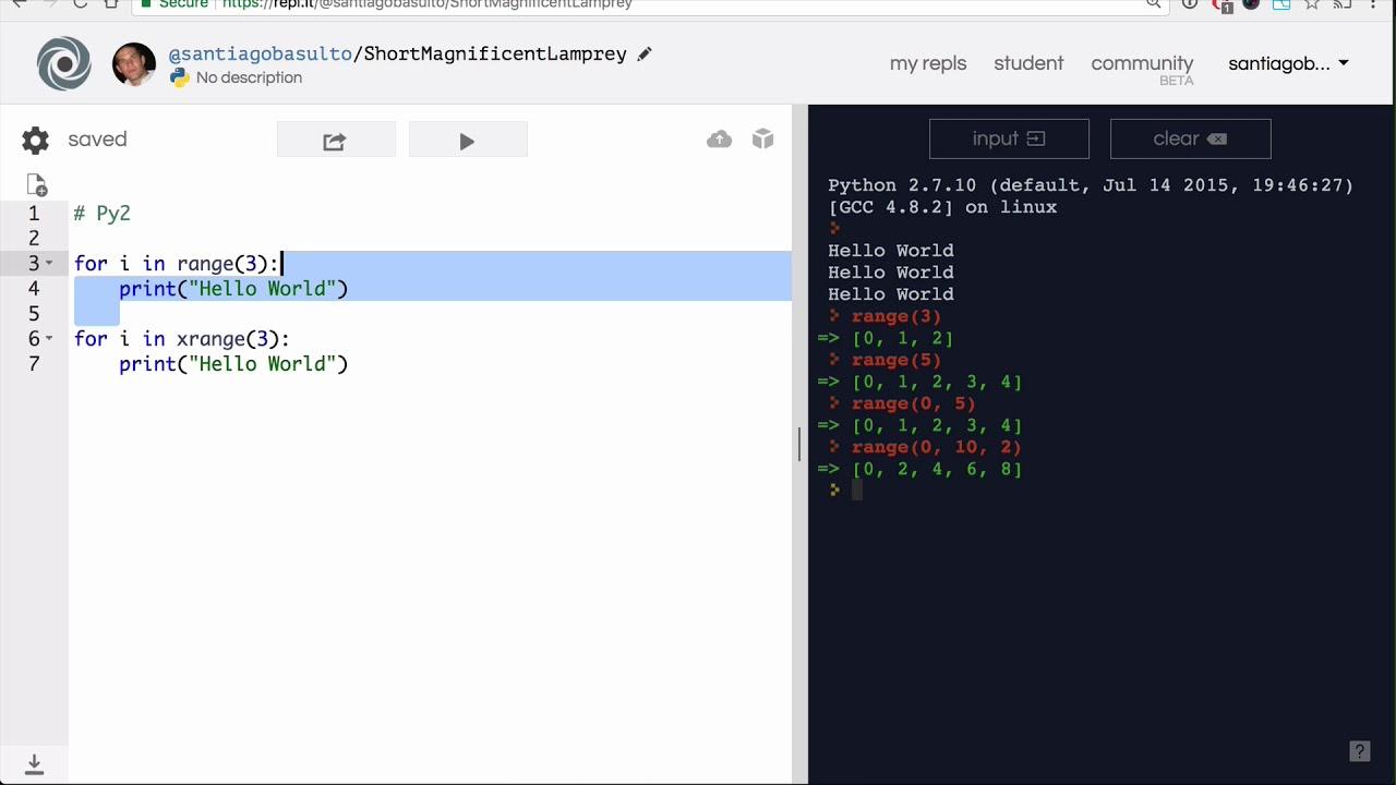 Base Python Track > Advanced control Flow > Range and xrange