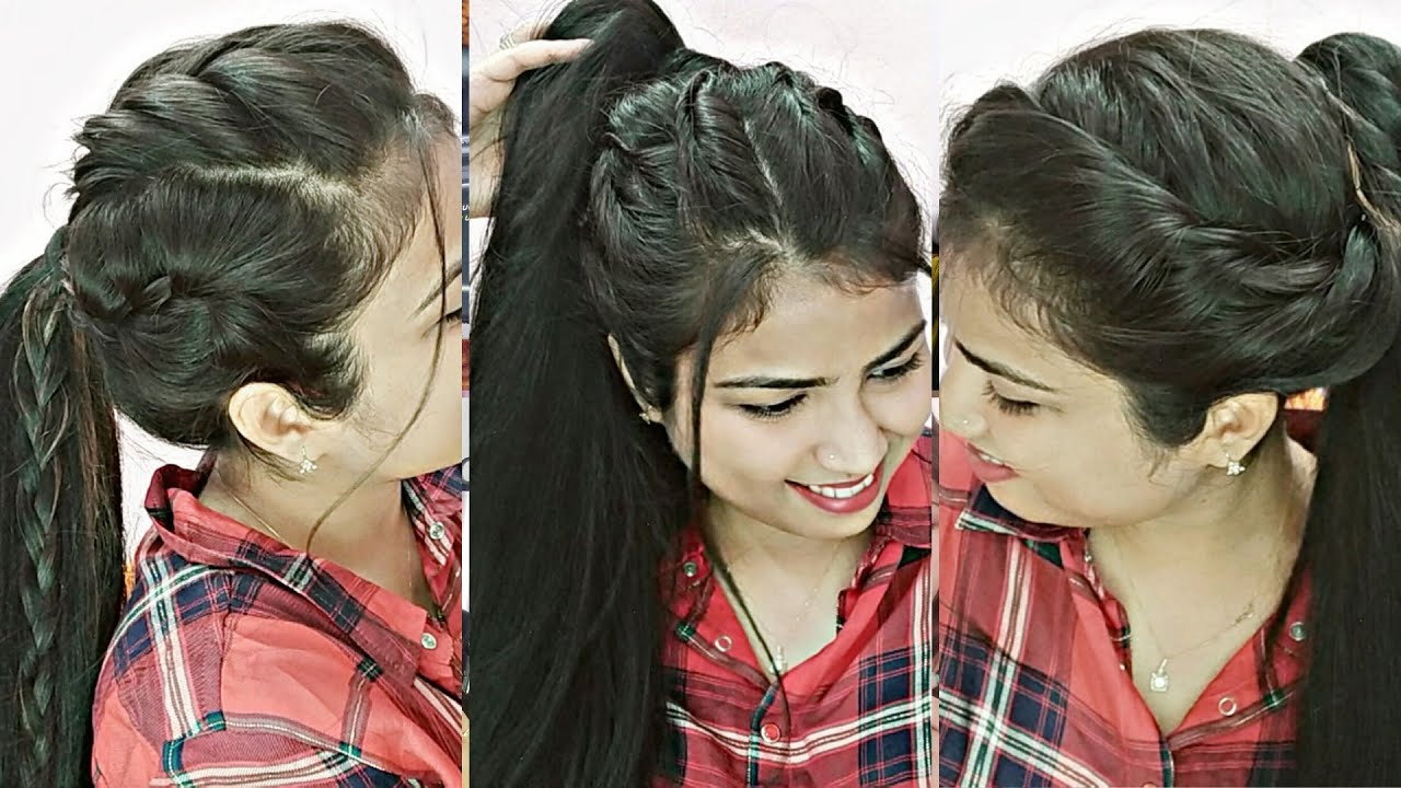 3 EASY Everyday High Ponytail Hairstyles For School/College/Work | Latest Ponytail Hairstyle ...