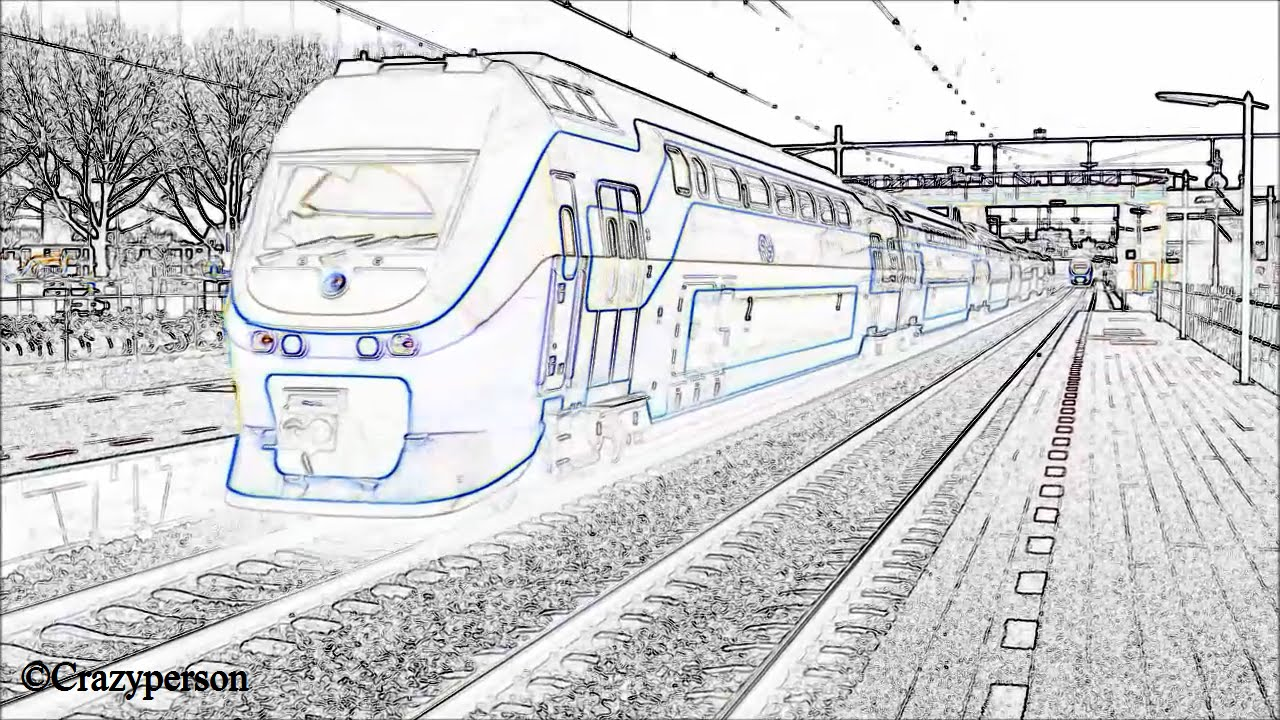Ns Virm Trein 8709 In Lijntekening Beeld Vertrekt Uit Oud Station