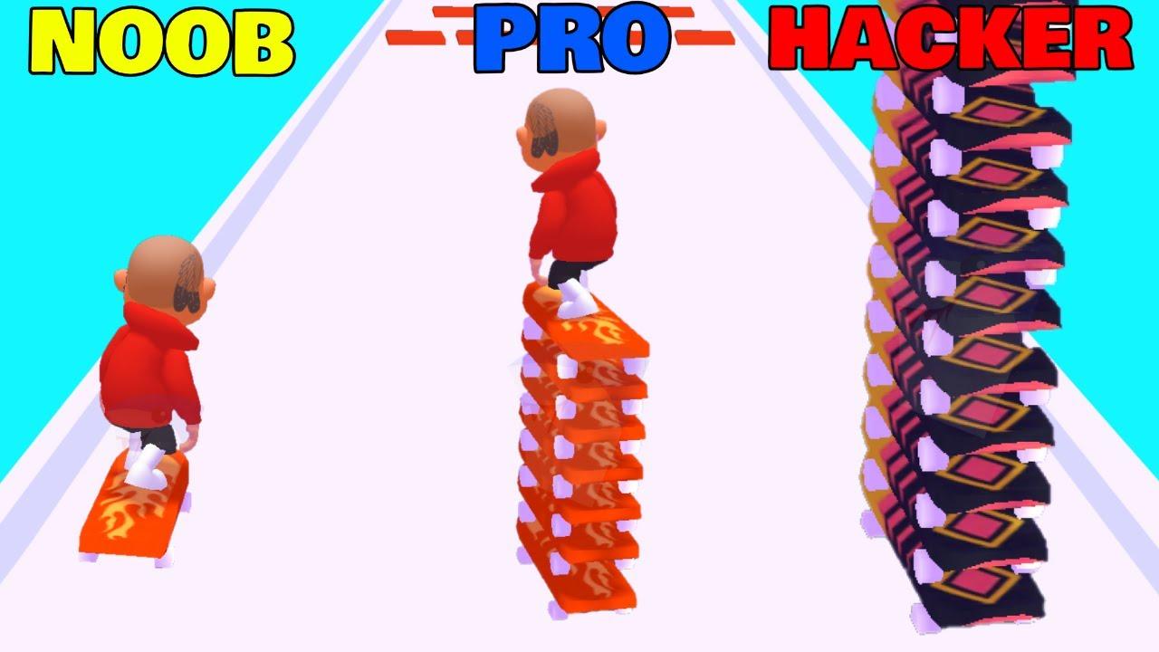 NOOB vs PRO vs HACKER in Doggface: Skate and Stack