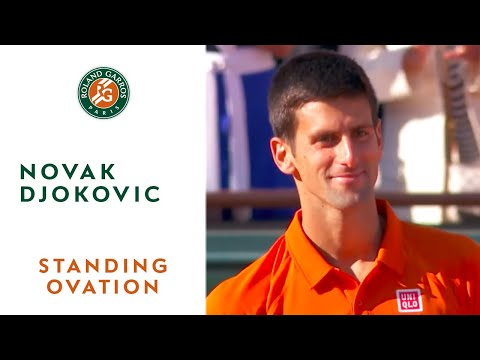 Huge standing ovation for 2015 French Open runner-up Novak Djokovic