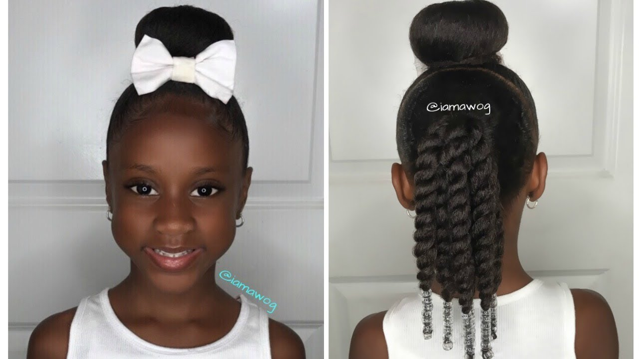 quick & easy 10 min sock bun hairstyle #1 | kids natural hairstyle | iamawog
