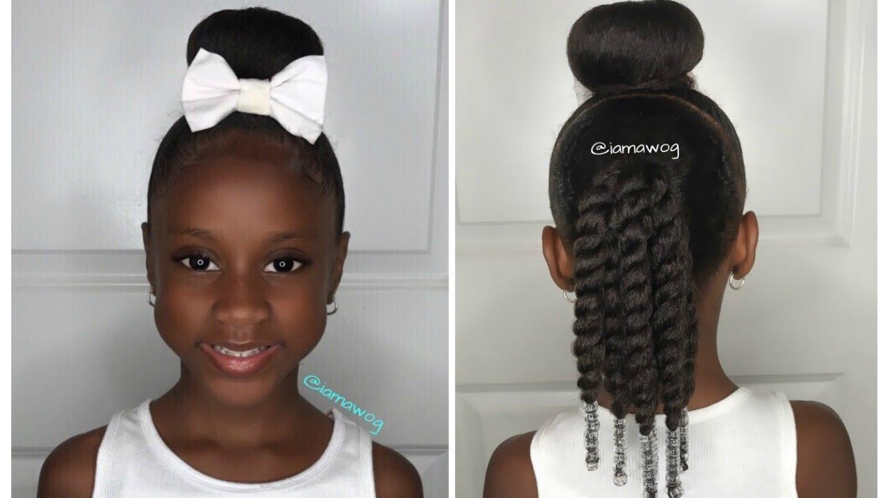 quick & easy 10 min sock bun hairstyle #1 | kids natural hairstyle | iamawog